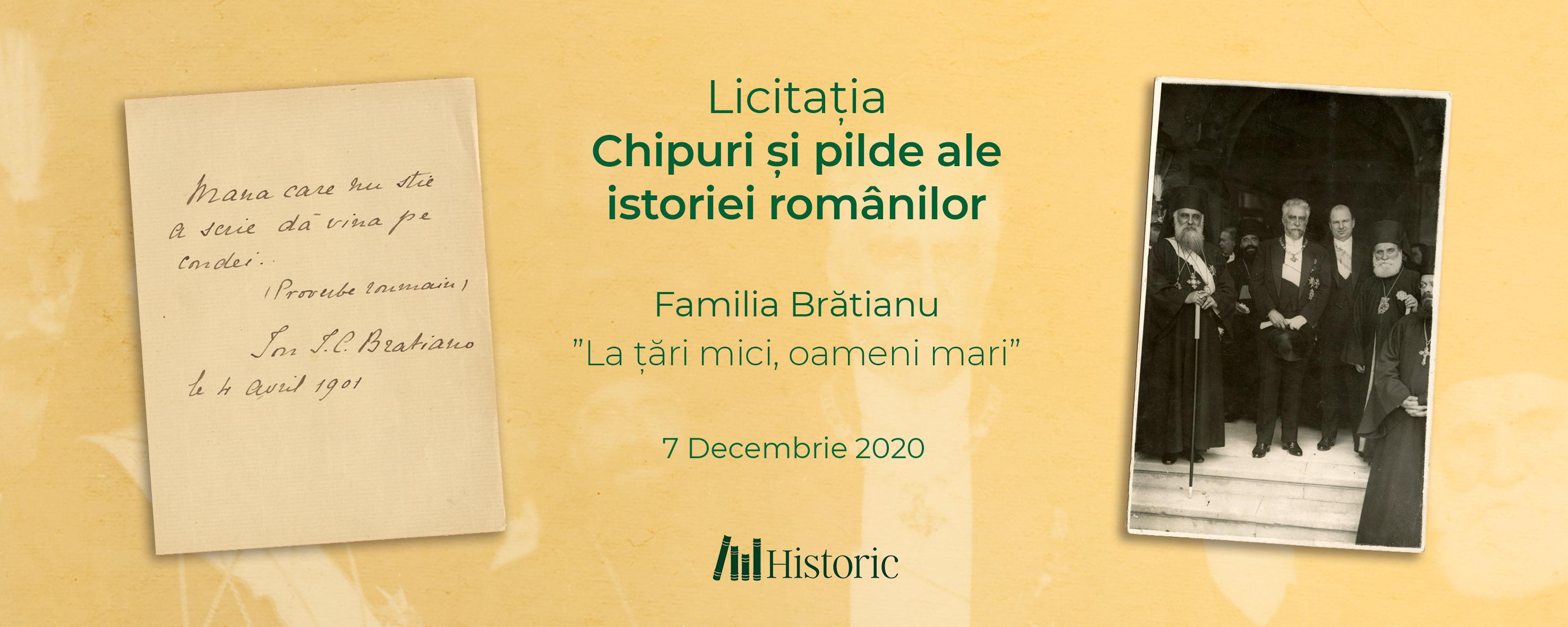 """Licitația Chipuri și pilde ale istoriei românilor - Familia Brătianu """"La țări mici, oameni mari"""""""