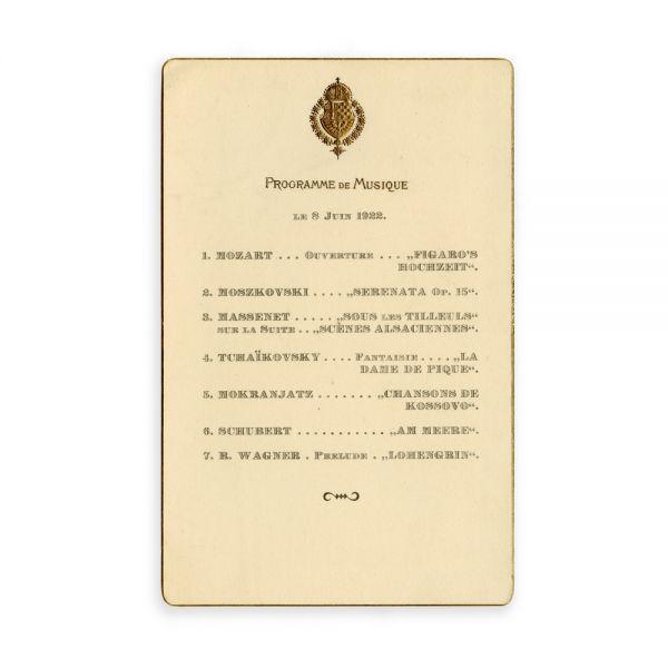 Meniu de la nunta Principesei Maria cu Regele Alexandru al Iugoslaviei, 1922