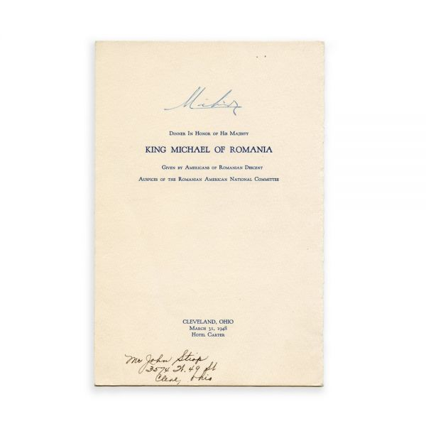 Meniul unei cine organizate în onorarea Regelui Mihai, cu semnătura Regelui