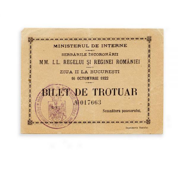 Bilet de trotuar pentru serbările încoronării, 16 Octombrie 1922