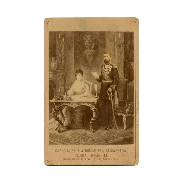 Regele Carol I și Regina Elisabeta, fotografie de cabinet înrămată într-o ramă Mandy