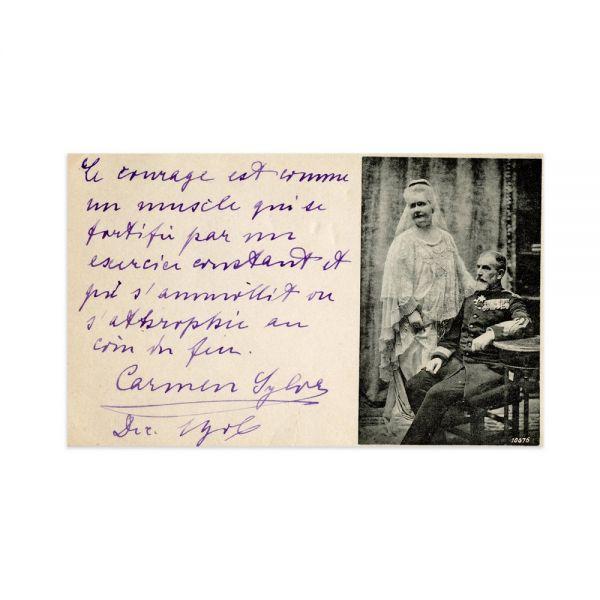 Carmen Sylva și Regele Carol I, carte poștală fotografică cu o însemnare olografă, 1906