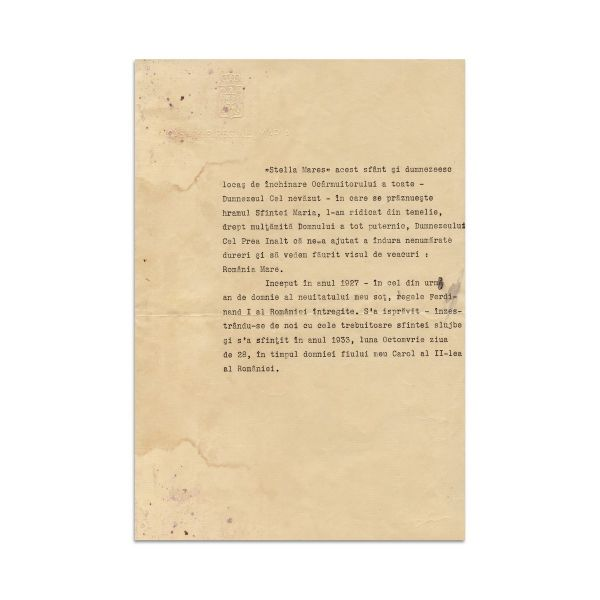 Regina Maria, text dactilografiat pentru Biserica Stella Maris, cca. 1933 - Piesă rară