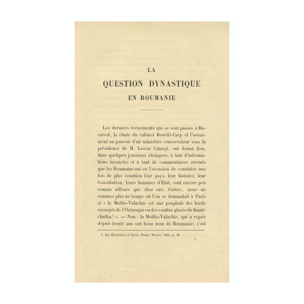 George Bengescu, La question dynastique en Roumanie, 1889