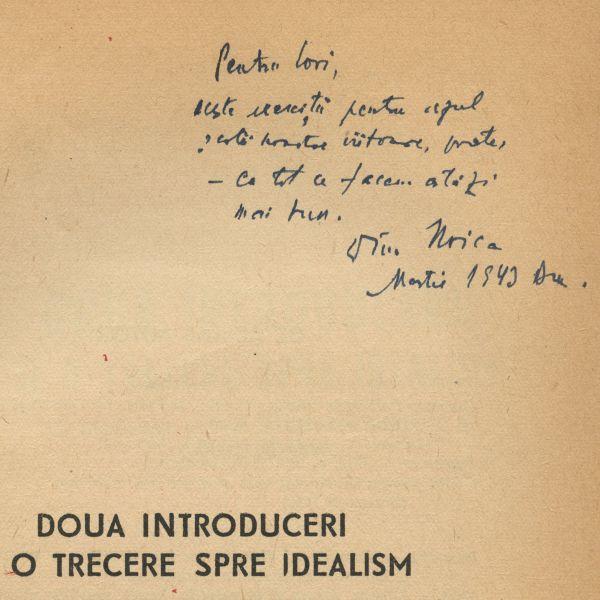 Constantin Noica, Două introduceri și o trecere spre idealism, 1943, cu dedicație