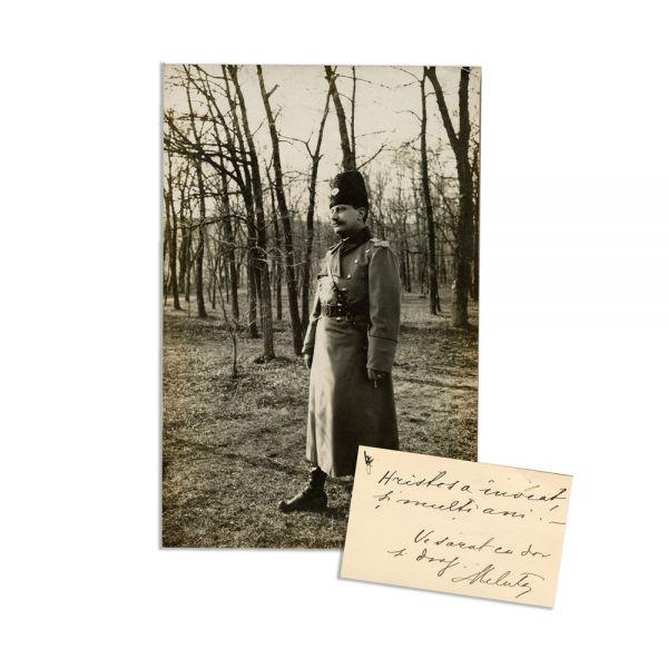 Generalul Eremia Grigorescu, fotografie de epocă, carte de vizită cu însemnare olografă + însemnul de general, cca. 1917