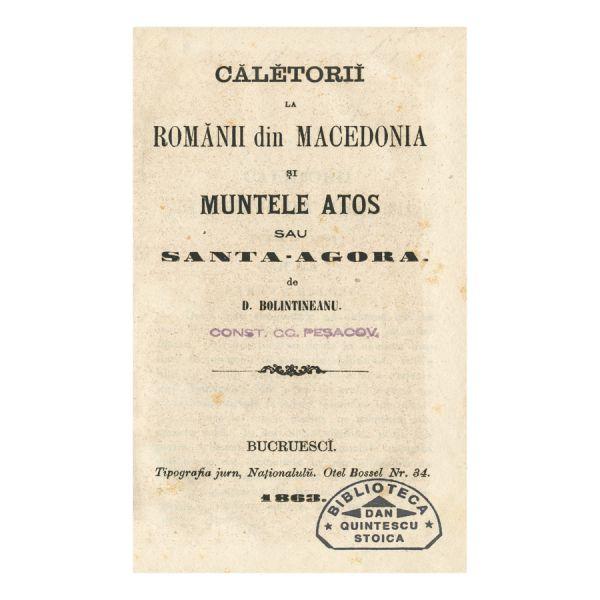 D. Bolintineanu, Călătorii la românii din Macedonia, 1863