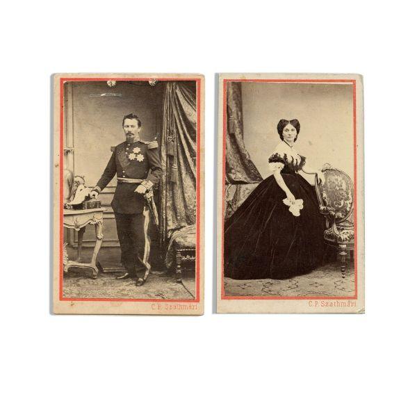 Elena și Alexandru Ioan Cuza, două fotografii format carte-de-visite, atelier Carol Popp de Szathmary