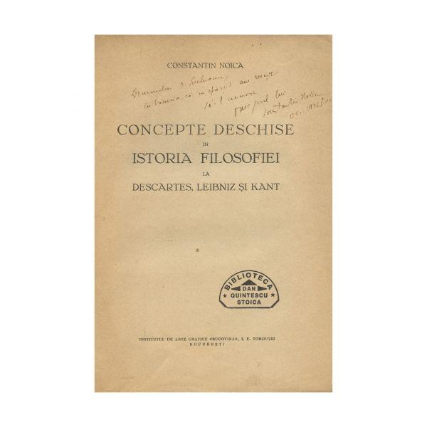 Constantin Noica, Concepte deschise în istoria filosofiei, cu dedicație