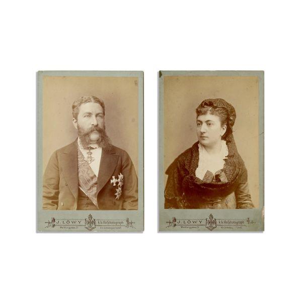 Ecaterina și Gheorghe Gr. Cantacuzino, două fotografii de cabinet, atelier J. Lowy