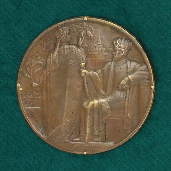 Plachetă comemorativă realizată cu ocazia Încoronarii de la Alba-Iulia, 1922