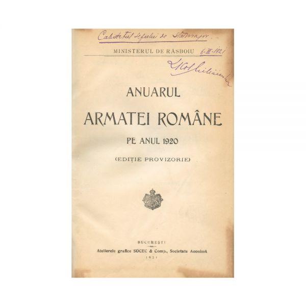 Anuarul Armatei Române pe anul 1920