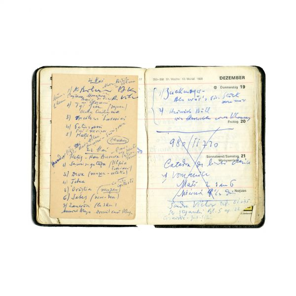 Constantin Noica, listă de adrese  + carnet cu însemnări