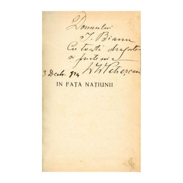 D.D. Pătrășcanu, În fața națiunii, cu dedicație pentru Ioan Bianu