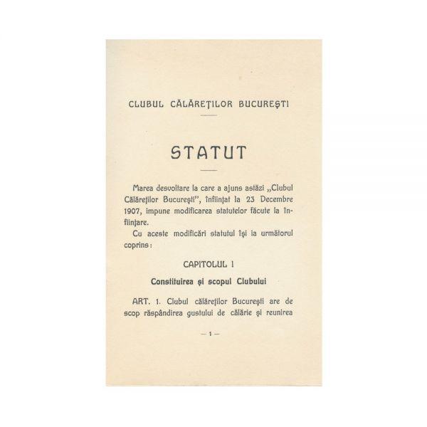 Statut - Clubul Călăreților din București, 1910