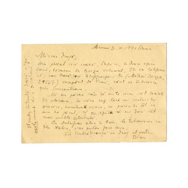 Constantin Noica, carte poștală către Mircea Eliade, 3 Aprilie 1940