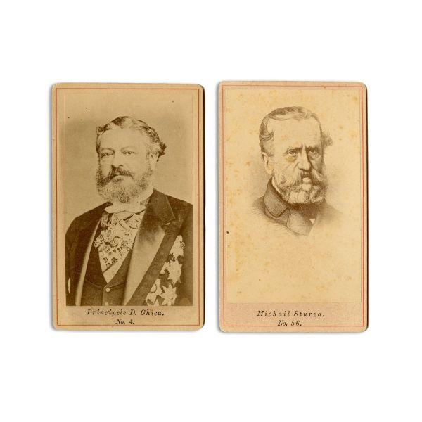 Mihail Sturdza și D. Ghica, două fotografii format carte-de-visite, atelier frații Șaraga