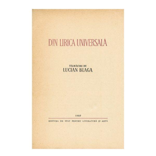 Lucian Blaga, Din lirica universală, cu dedicația autorului
