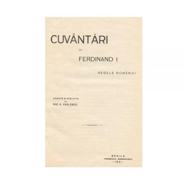 Nae A. Vasilescu, Cuvântări de Ferdinand I Regele României, cu dedicație către V. Florescu