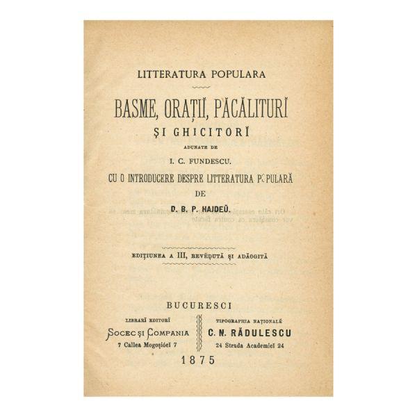 I. C. Fundescu, Basme, Orații, Păcălituri