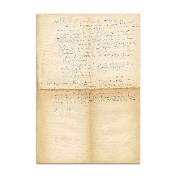 """Constantin Noica, manuscris - Scurt referat despre traducerea """"Iliadei"""", 1977"""
