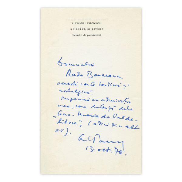 Alexandru Paleologu, Spiritul și litera, 1970, cu dedicație