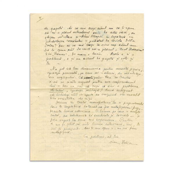 Constantin Noica, scrisoare adresată lui Mircea Eliade, 1932