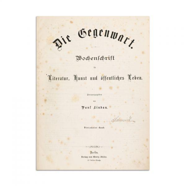 """Publicația """"Die Gegenwart""""- prima traducere într-o limbă străină a lui M. Eminescu, realizată de regina Elisabeta a României"""
