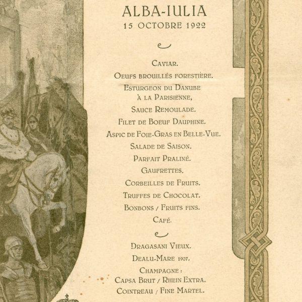 Meniul încoronării de la Alba-Iulia, 1922