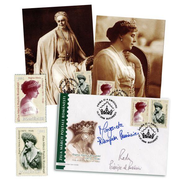 """Plic """"Prima zi"""" cu semnăturile Principesei Margareta și a Principelui Radu + bloc-coliță"""
