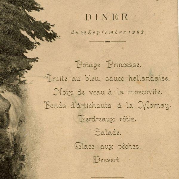 Meniul unei cine la Castelul Peleș, 1902