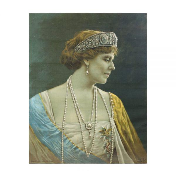 Regele Ferdinand I și Regina Maria, două cromolitografii pe mătase, Revista Artelor Grafice