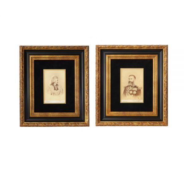 Regele Carol I și Regina Elisabeta, set de două fotografii de epocă, atelier Franz Mandy