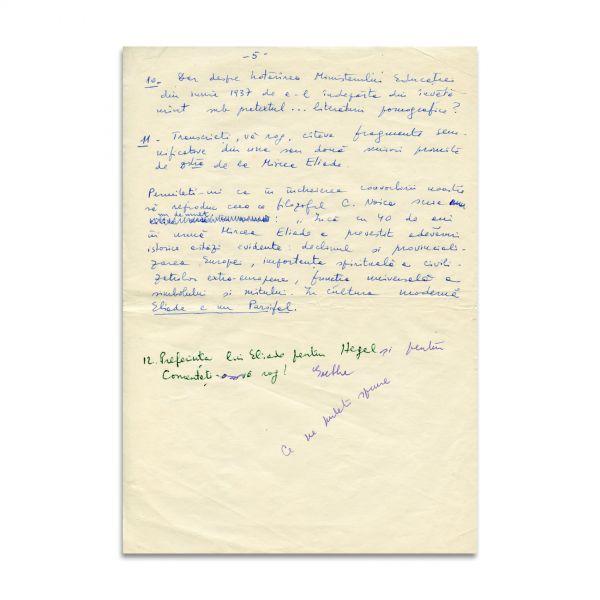 """Mircea Handoca, manuscris -""""Convorbiri despre Mircea Eliade"""" + manuscrisul răspunsurilor date de Constantin Noica"""