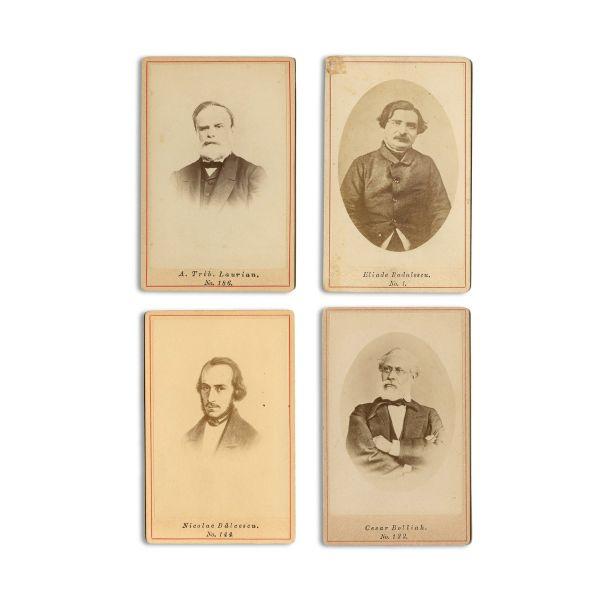 A. Treb. Laurian, Nicolae Bălcescu, Cezar Bolliac, I. Heliade-Rădulescu, 4 fotografii tip carte-de-visite, atelier Frații Șaraga