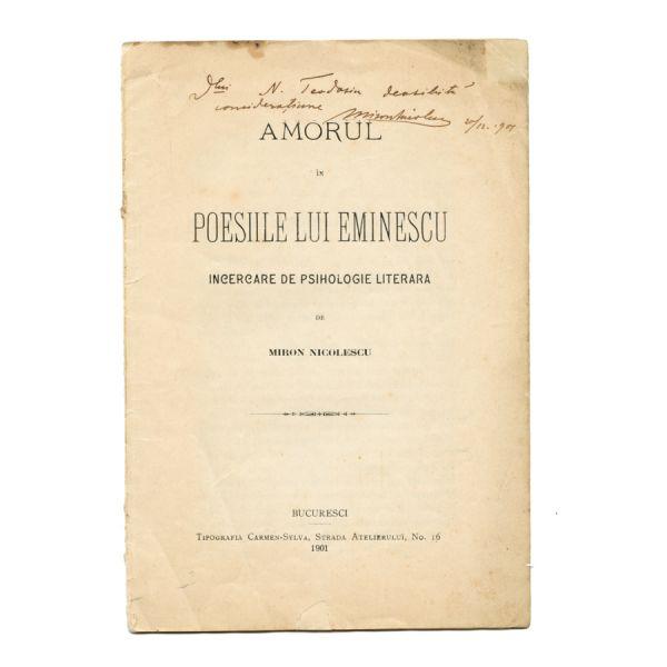 M. Nicolescu, Amorul în poeziile lui  Eminescu, cu dedicația olografă a autorului