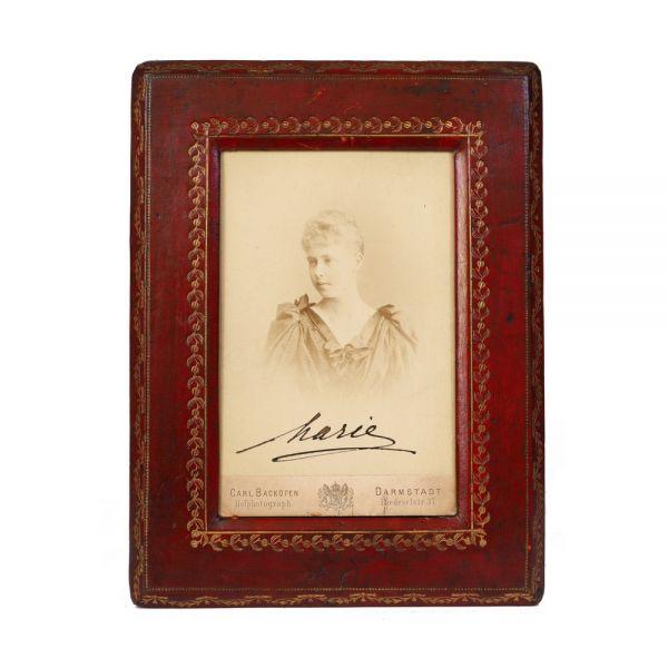 A.S.R. Principesa Maria de Edinburgh, fotografie de cabinet semnată olograf, atelier Carl Backofen