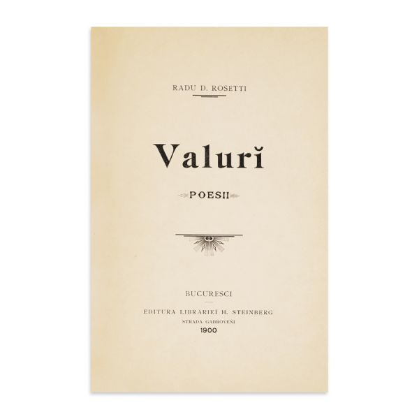 Radu D. Rosetti, Valuri, 1900, cu dedicație olografă