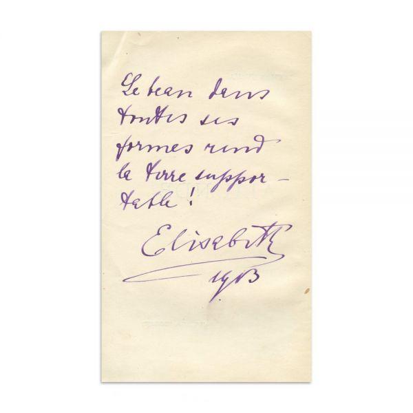 Carmen Sylva, Aliunde, 1913, cu însemnare olografă