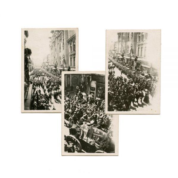 Trei fotografii de la funeraliile regelui Ferdinand I, 1927
