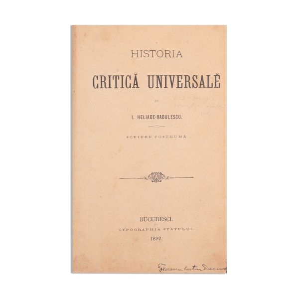I. Heliade-Rădulescu, Historia Critică Universală, două volume colligate, 1892