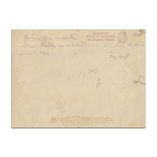Nicolae Iorga, fotografie de grup și carte de vizită, cca. 1931, Vălenii de Munte