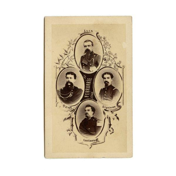 Cei patru conspiratori împotriva lui A. I. Cuza, fotografie de epocă, atelier Duschek, 1866